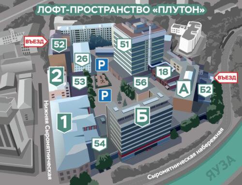 Схема проезда Плутон - аренда офисов